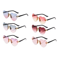 Kids Rimless Frame Sunglasses Glasses Shades for Boys Girls, Heart Love Pattern UV400 Protection Sun