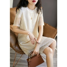 Qzmg Fan French Style Light Retro Dots Hollow Beige Apricot Cotton Short Sleeve Dress