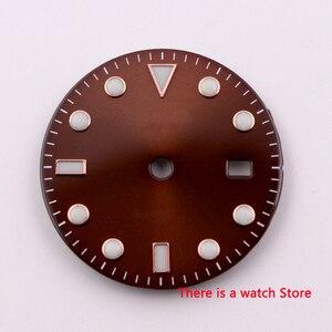 28.5mm no logo luminous date window coffee Watch Dial fit ETA 2824 2836 MIYOTA 8215 821A Mingzhu DG2813 Automatic Movement