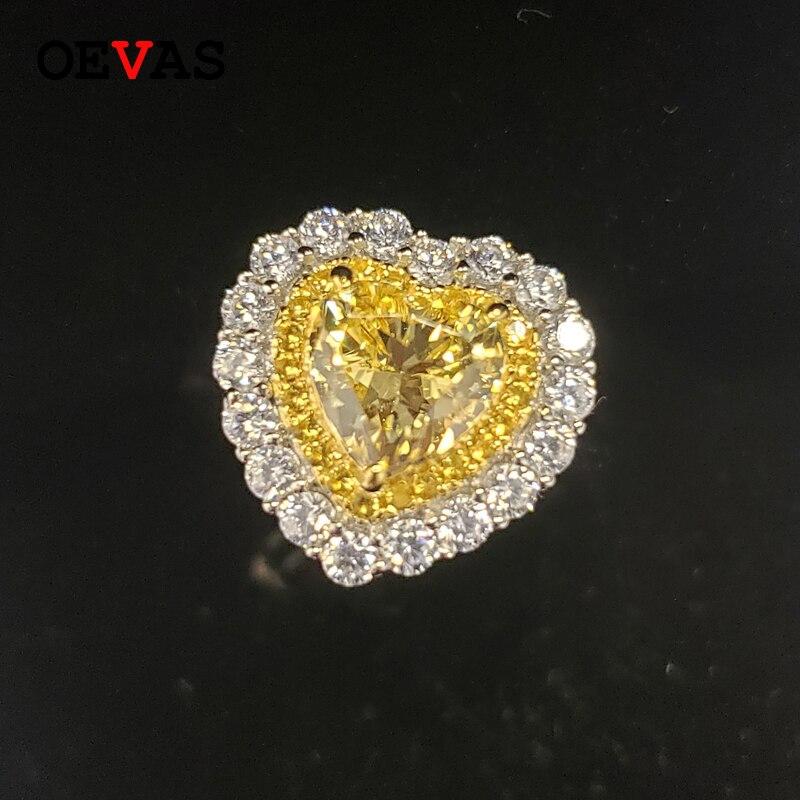 OEVAS-خاتم زواج من الفضة الإسترليني والمويسانتي للنساء ، خاتم ، 100% ، 925 فضة ، ألماس ، عالي الكربون ، هدية الذكرى السنوية
