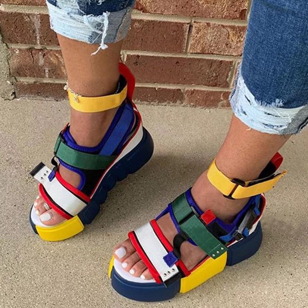 Womens Summer Beach Sandals Wedge Platform Open Toe 2020 Casual Shoes Wedge Heel Colorblock Ankel Strap Female Beach Sandals #45