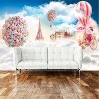 milofi custom 3d large wallpaper mural wall covering childrens card fantasy sky hot air balloon tv background wall