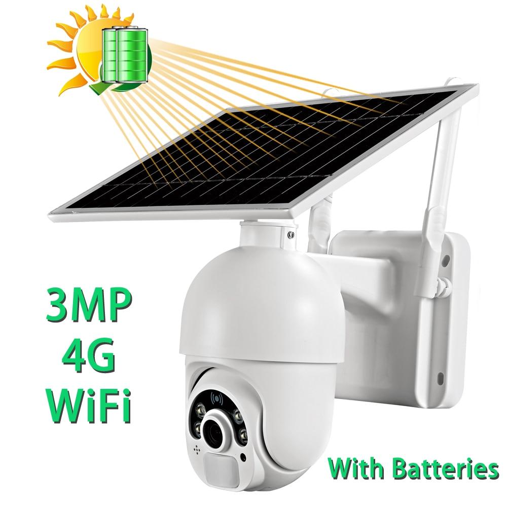 3MP واي فاي كاميرا الطاقة الشمسية 4G بطاقة Sim سرعة قبة كاميرا متحركة صغيرة تعمل بالطاقة الشمسية في الهواء الطلق نظام الكاميرا CCTV الأمن مع البطار...