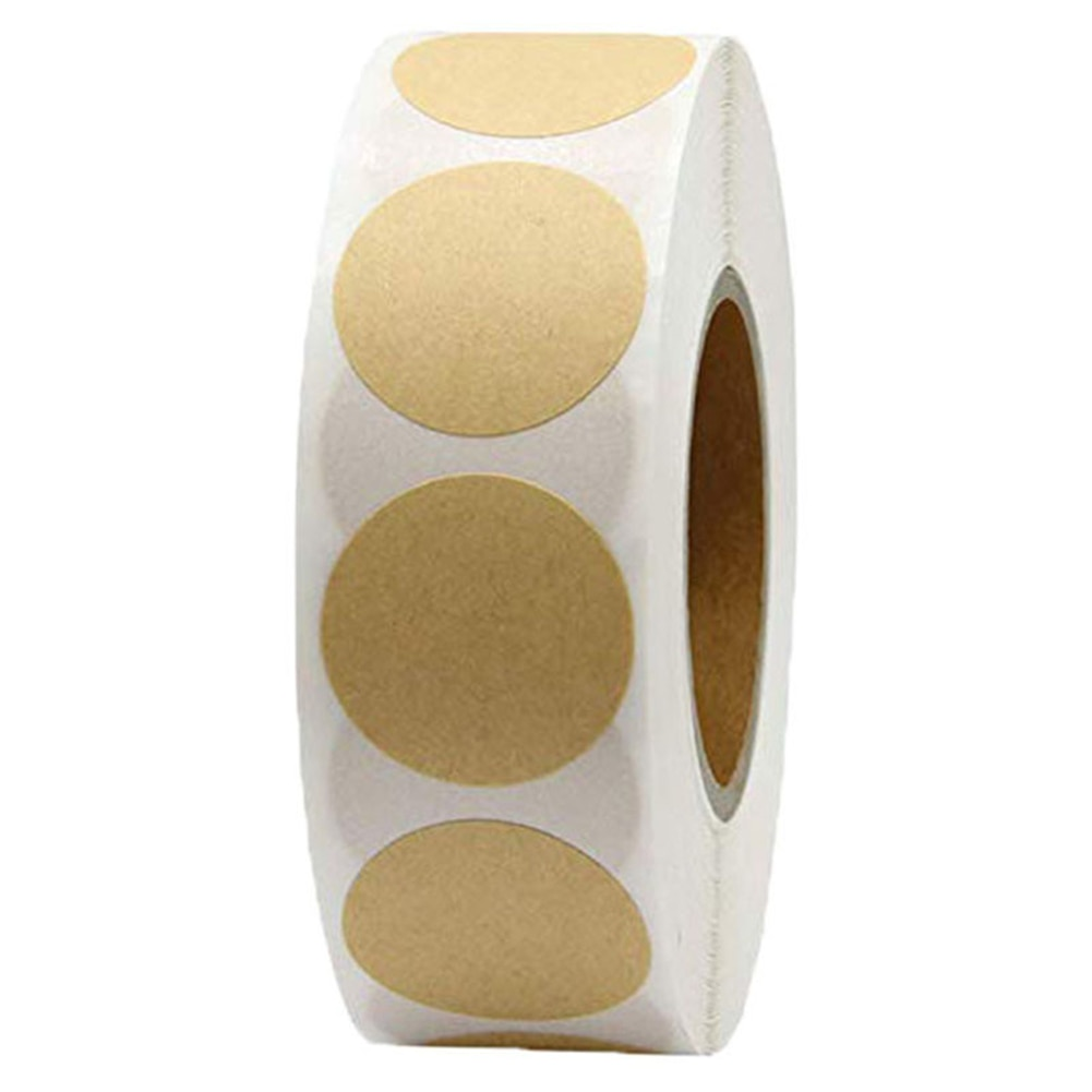 Blank Round Kraft Paper Self-adhesive Labels,1 Rolls Kraft Paper Label Stickers, 500 Total Per Roll of Round Adhesive Stickers