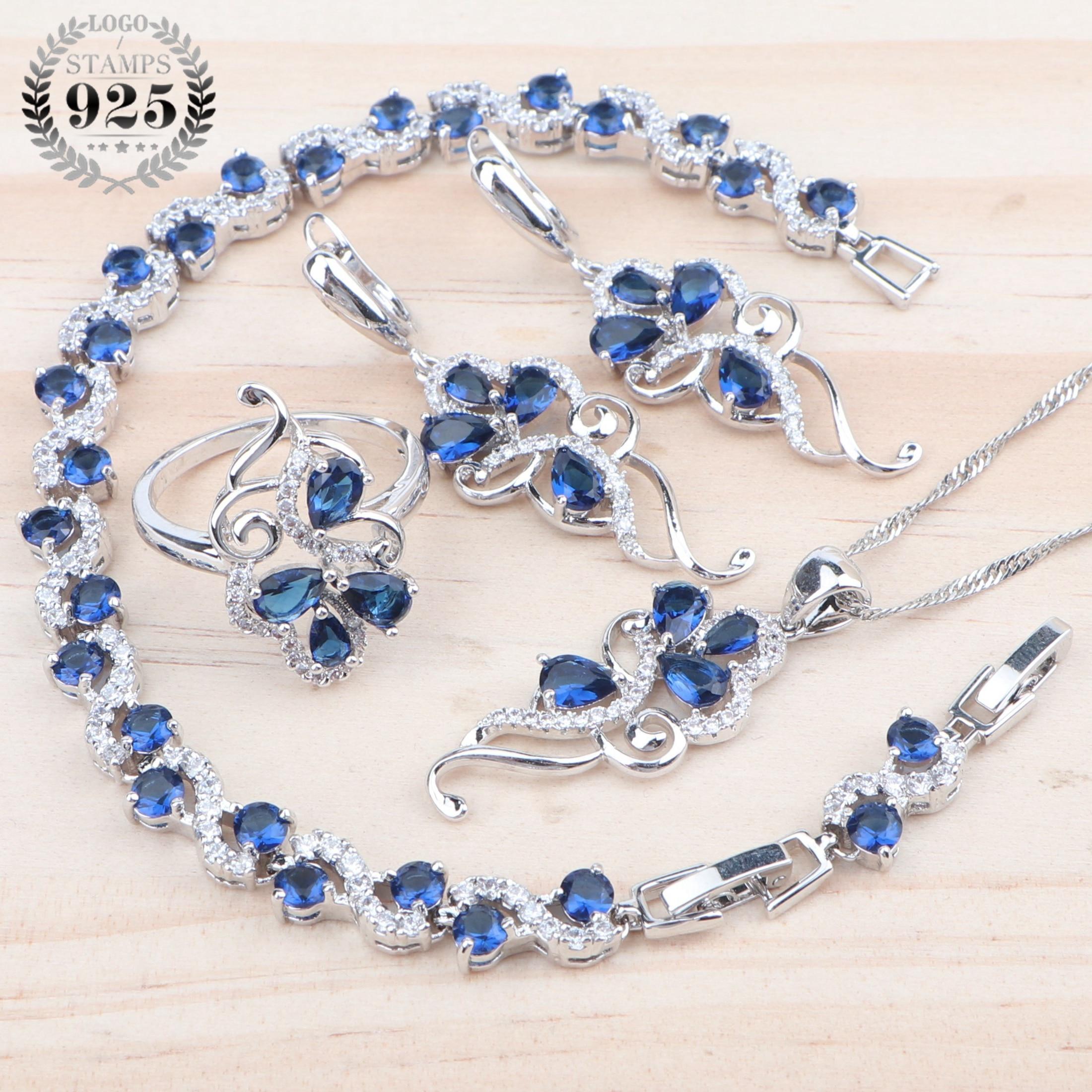 Conjuntos de joyería de lujo para mujer, para boda, nupcial, plata 925, Zirconia cúbica, bisutería, colgante, pulsera, anillo, pendientes, collar