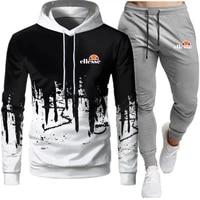 mens hoodies and sweatpants set fashion slim fit sportswear hip hop pullover black color autumn spring 2021