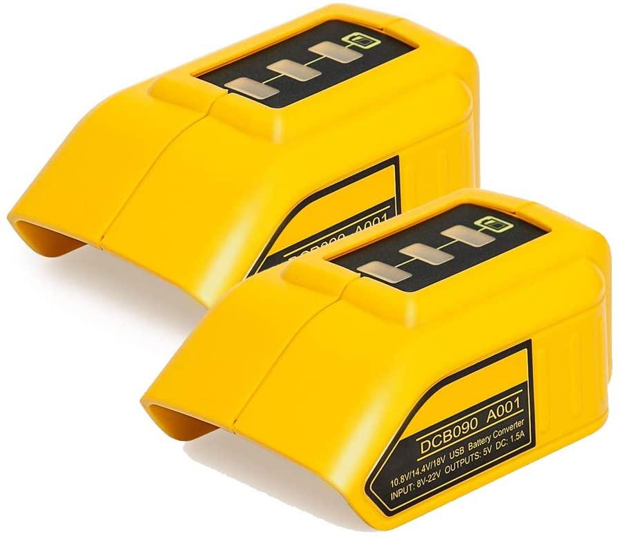 2pcs 12V/20V Max USB Power Source DCB090 for Dewalt 20v,14.4v,18v Lithium Ion Battery