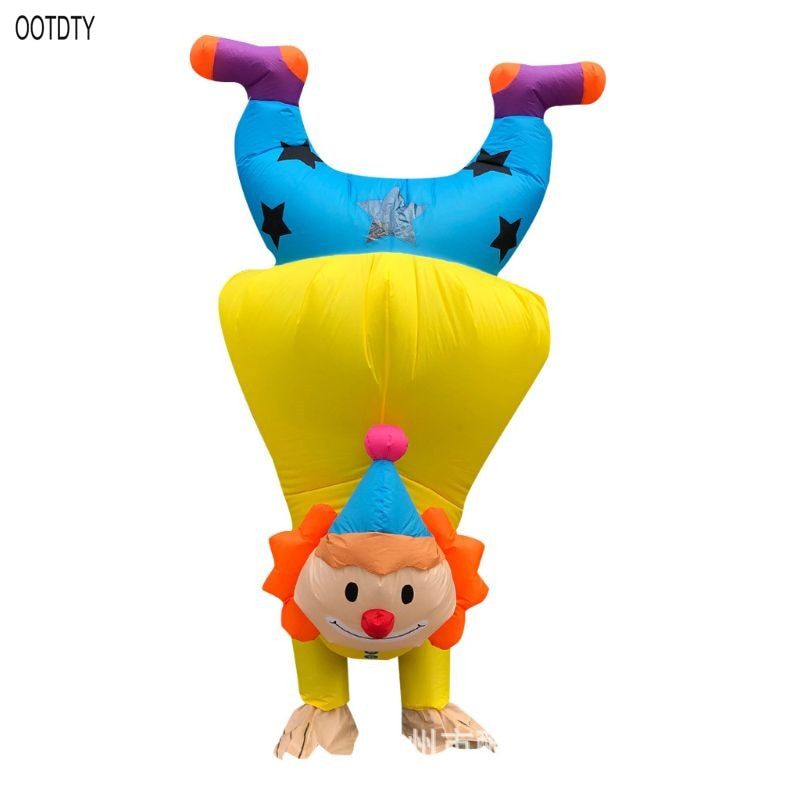 OOTDTY Hand Clown Inflatable Costume Adult Funny Blow up Outfit Halloween Cosplay Party Dress christms decoration inflatable clown