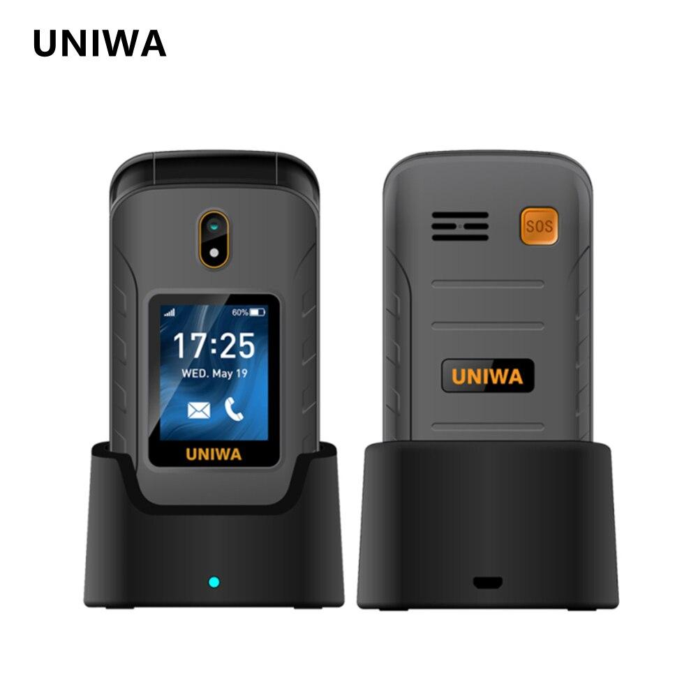 UNIWA V909T Big Push-Button 4G Flip Phone Dual Screen 0.3mp Camera FM Radio Russian Hebrew Keyboard Clamshell Cellphone