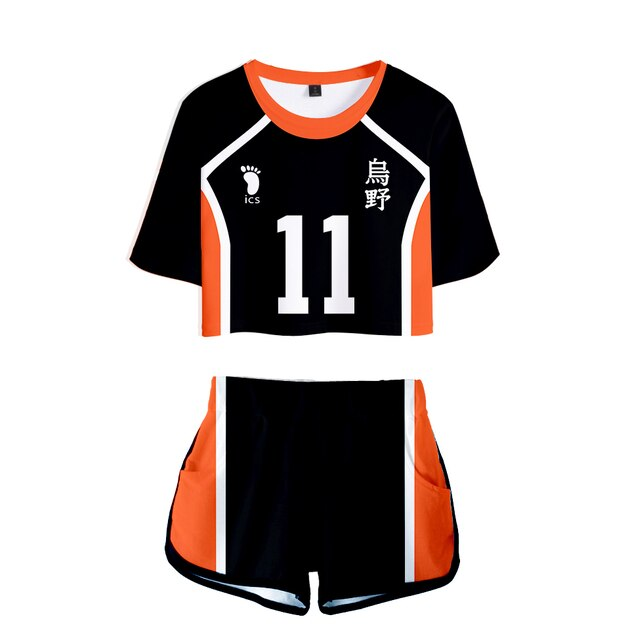Popular Dew navel Sport bokuto akaashi Suit Women Two Pieces sets Volleyball Haikyuu Jersey Figure T-shirts+shorts Pants Clothes