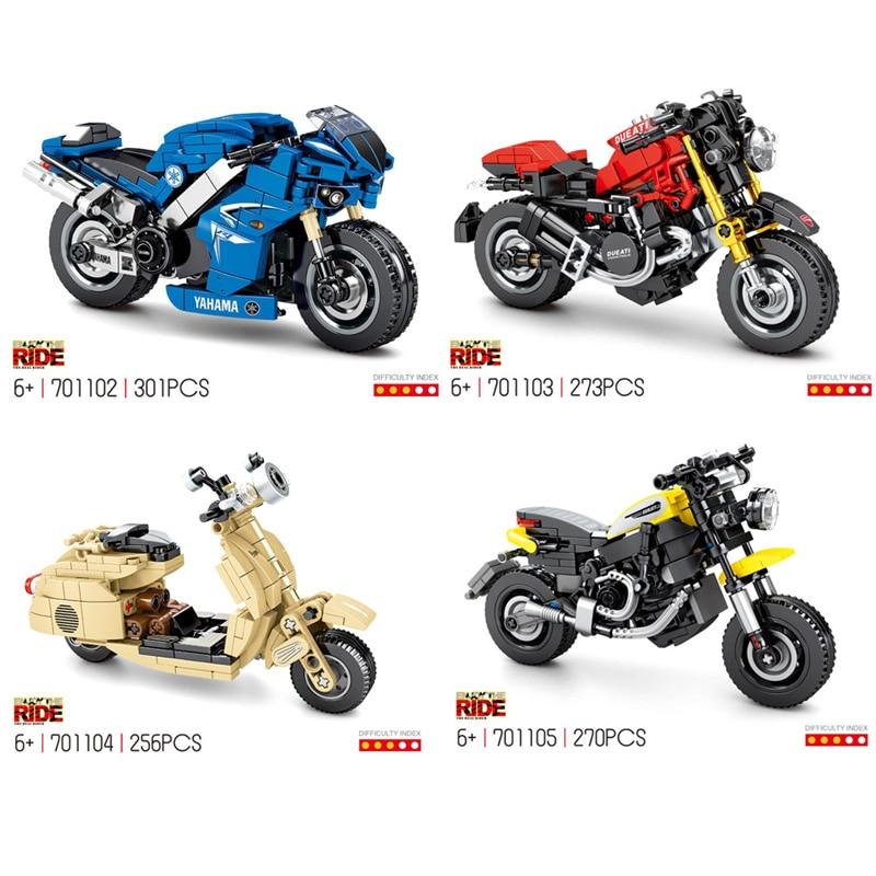 Escala técnica de la famosa marca de motocicleta yamaha r1 Ducati scramber 1200, modelo de bloque de construcción moc vespa, colección de bloques de juguete