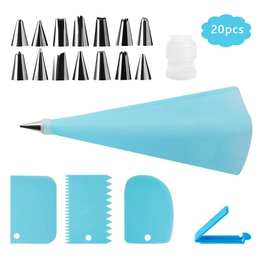 Cake Decorating Set 20 Pcs/set Stainless Pastry Nozzles Set Confectionery Bag Baking Tools For Cakes