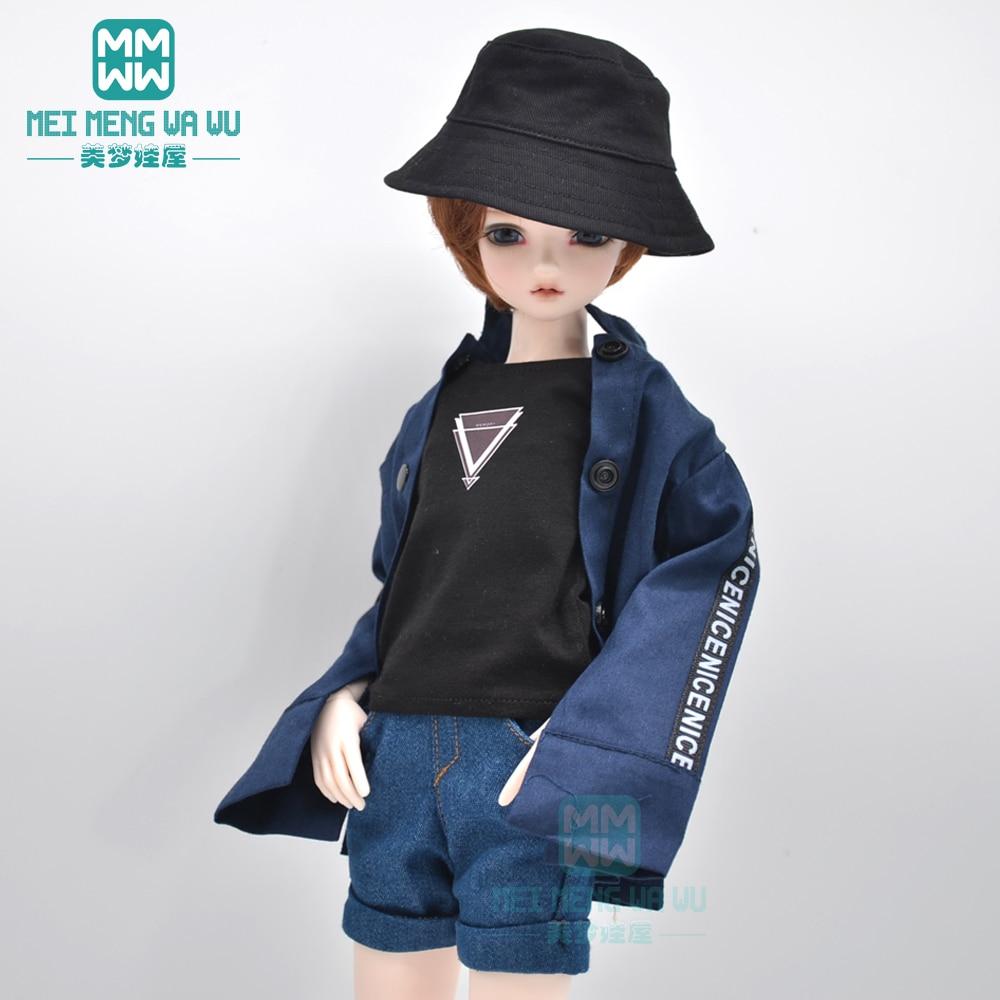 BJD doll clothes fits 40-45cm 1/4 MSD MK MYOU fashion commuter coat, denim shorts, vest