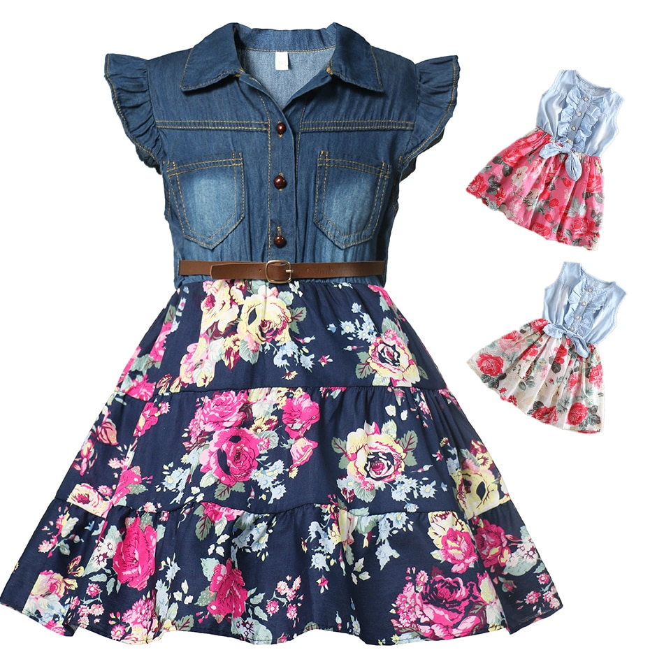 Girls Denim Floral Dress Summer Party Dress with Belt Children Flying Short Sleeve Casual Clothing Baby Girl Kids Fashion Outfi