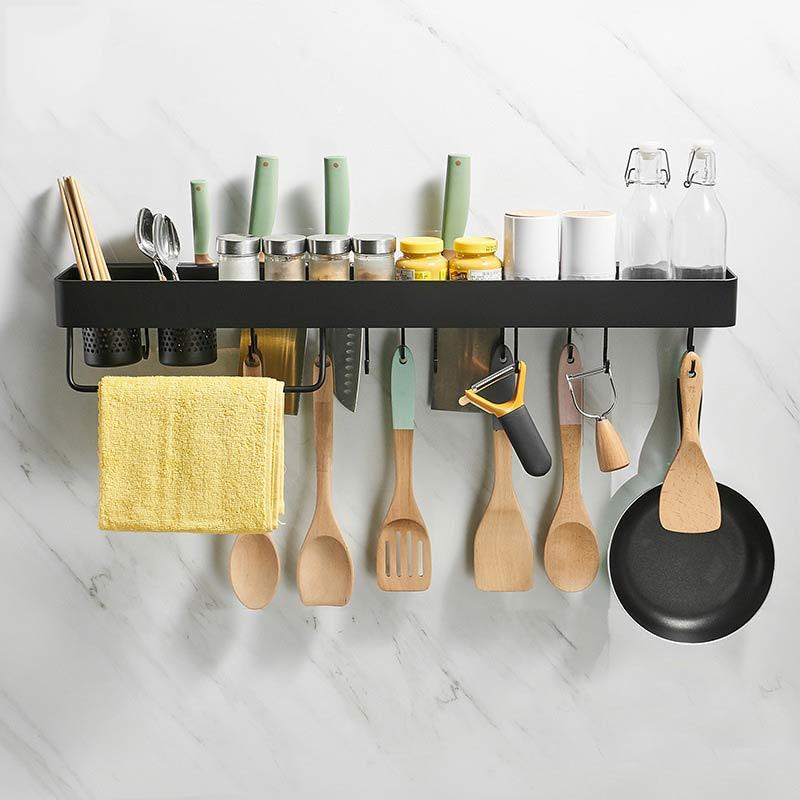 المطبخ الفضاء الألومنيوم ثقب خالية الحديثة الحد الأدنى الحائط المطبخ سكين التوابل رف متعدد الوظائف AE02YJM-0044