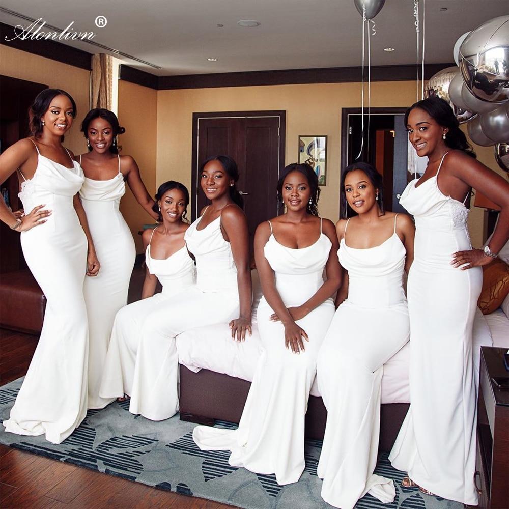 فستان حورية البحر بدون أكمام مع أكتاف عارية ، فستان إشبينة العروس ، 16 لونًا