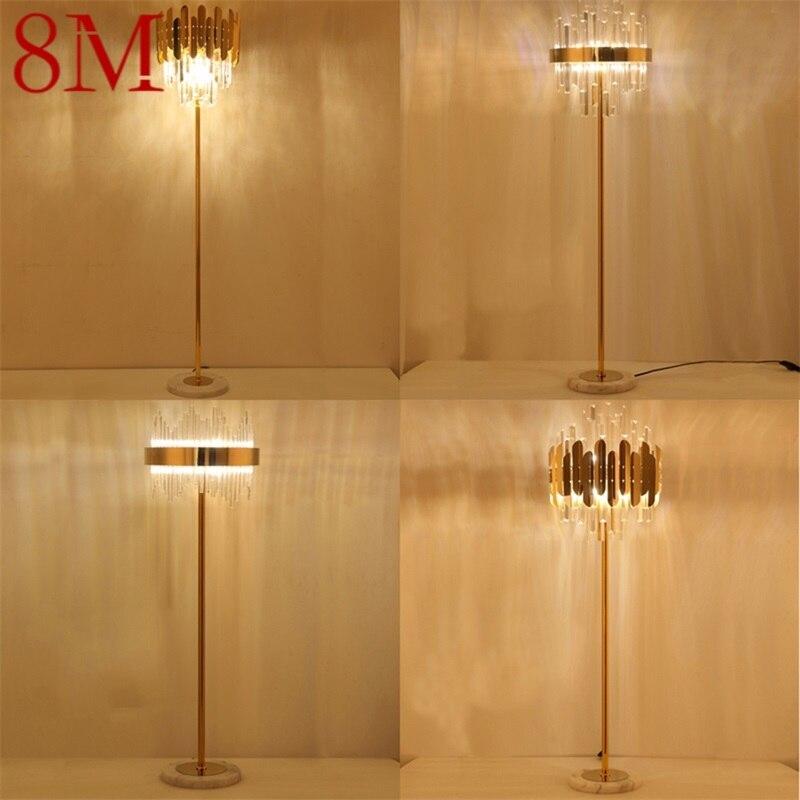 8M مصابيح أرضية ضوء المعاصرة LED الفاخرة الكريستال الزخرفية ل غرفة المعيشة المنزلي نوم