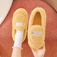 2021 woman house slippers lambswool faux fur warm flat footwear cotton non slips ladies soft men plush chunky couples shoes
