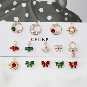 4pcs Korean Design Gold-clad 18k zirconium Earrings for women bowknot moon star pendant diy jewelry necklace bracelet material