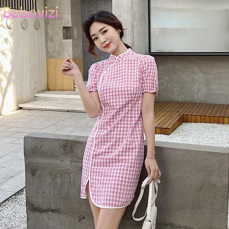 Летние S-XL голубого и розового цвета, приталенное сексуальное Вечерние Повседневные Qipao Китайский (традиционный), детская зимняя теплая одеж...