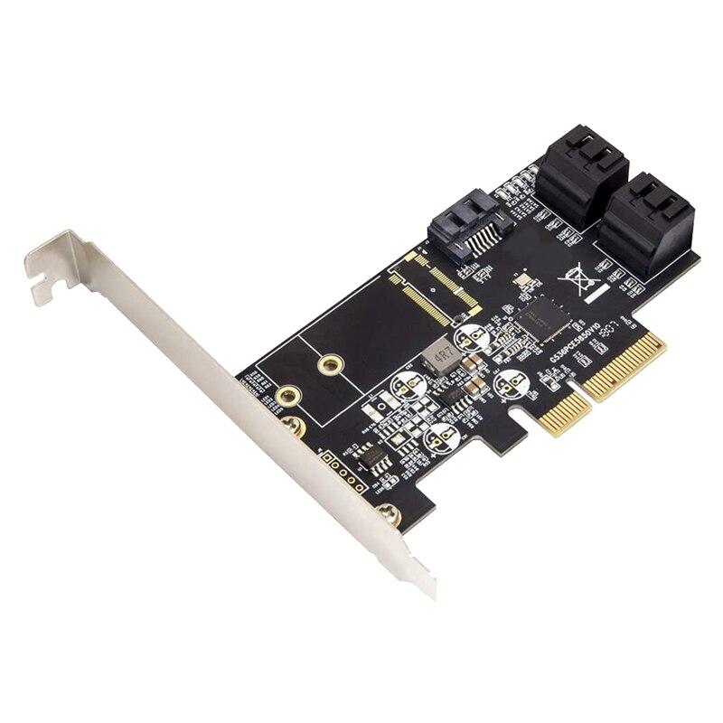 5 منفذ غير Raid SATA III 6 جيجابايت/ثانية Pci-E X4 بطاقة وحدة التحكم عن حاسوب شخصي مكتبي يدعم SSD و HDD مع قوس منخفض.