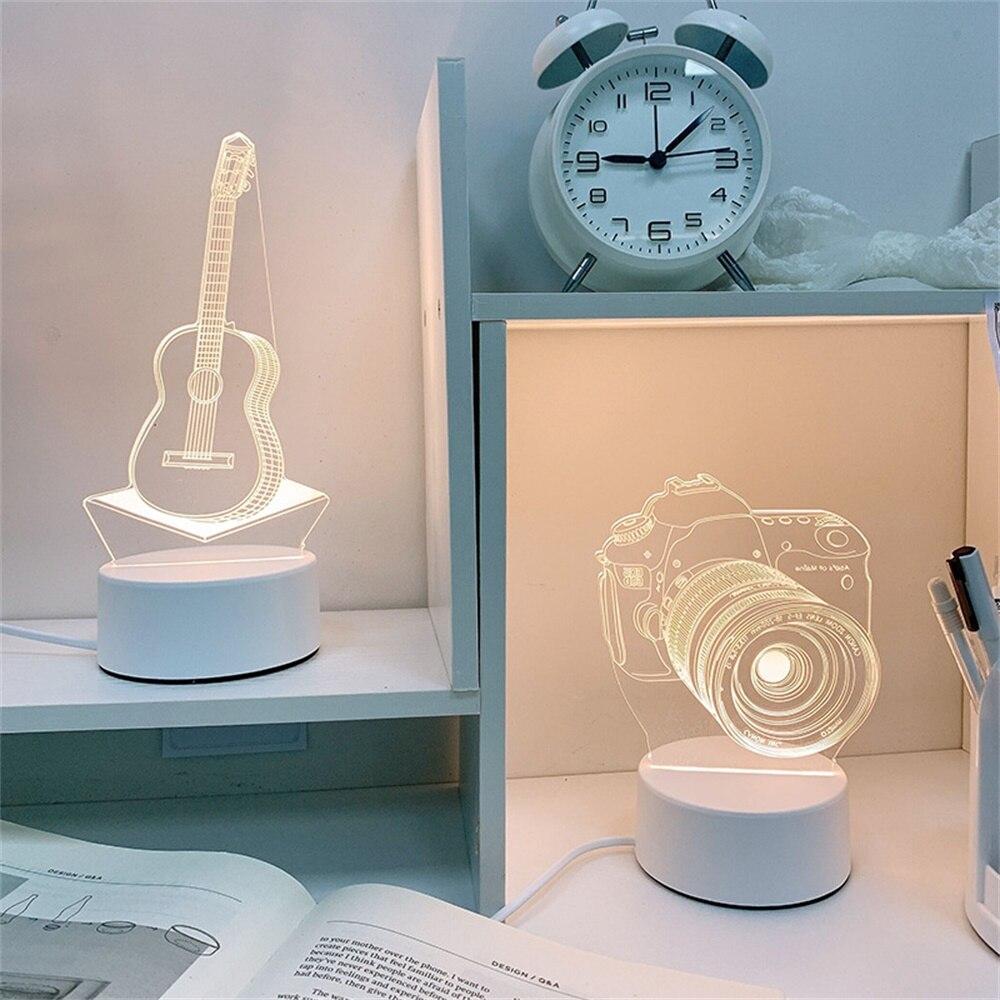 Ночной светильник пластина творческий светодиодный Новинка Акриловые 3D Иллюзия настольная лампа, подарок на День святого Валентина для лю... лю мэри бэтмен ночной бродяга