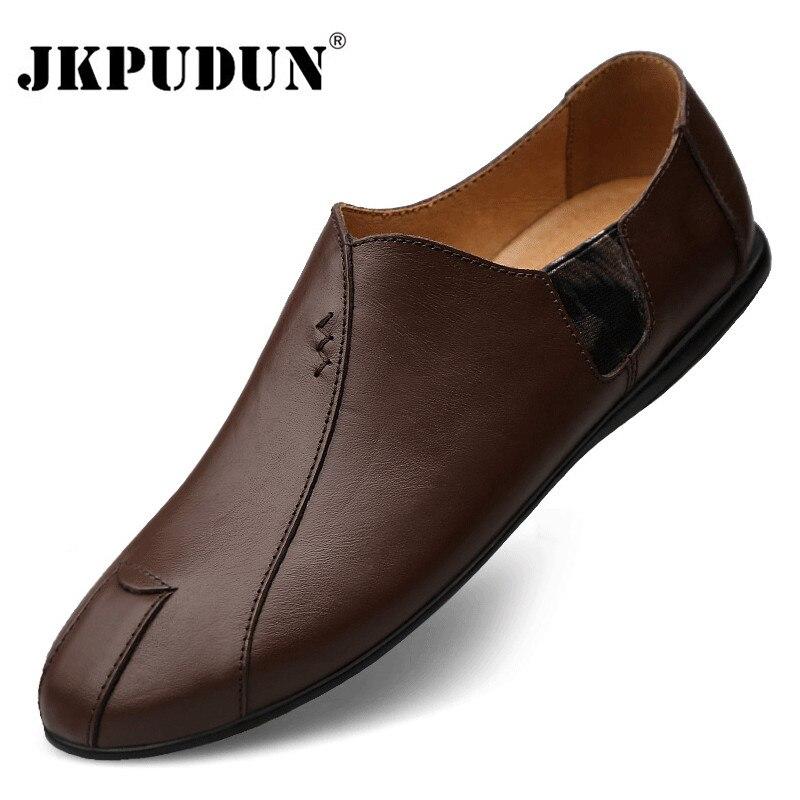 Zapatos casuales de cuero genuino para hombre, mocasines de lujo de marca 2020 para hombre, mocasines transpirables deslizables, zapatos de conducción perezosos de talla grande 38-47
