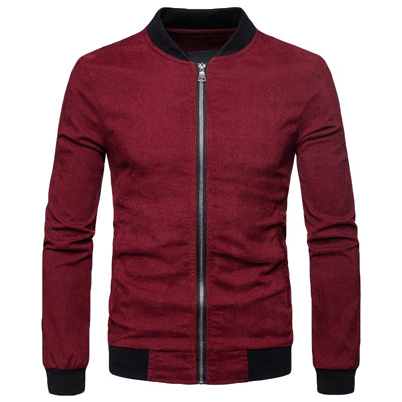 Masculino outono casaco de veludo gola gola mangas compridas bolsos com zíper casual outwear borgonha/azul escuro/marrom