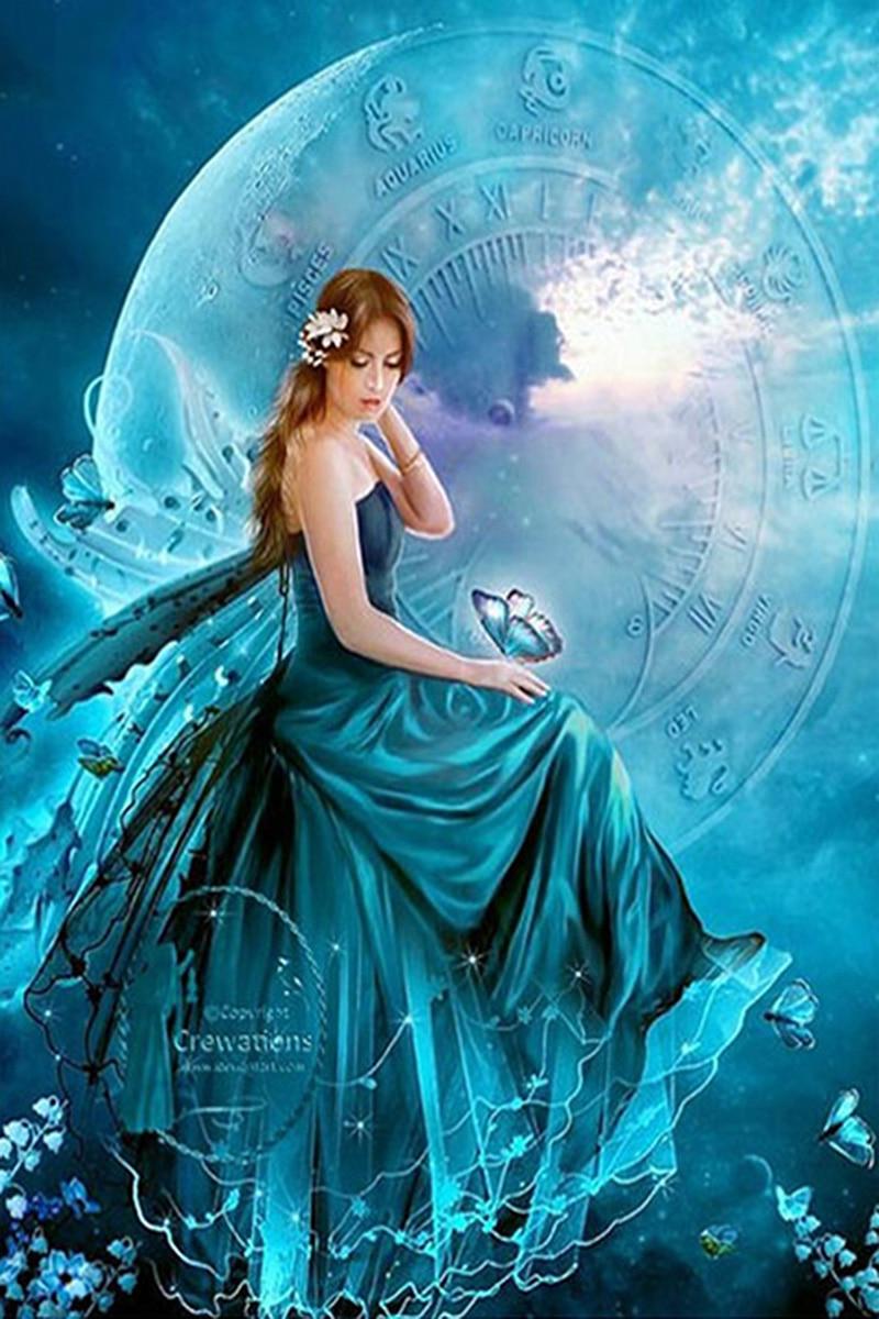 Diamant broderie diamant peinture pleine carré diamant mosaïque bleu lune fée image de strass décoration de la maison