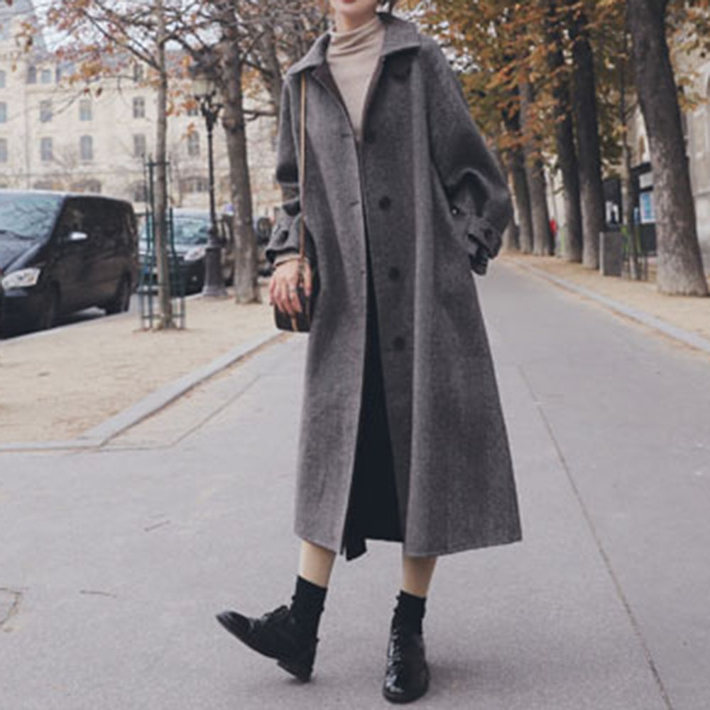Overcoat 2021 Autumn Winter New Fashion Temperament Solid Color Lapel Single-breasted Long Sleeve Ca