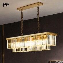 Fss Gold Rechteck Kristall Kronleuchter Beleuchtung Für Esszimmer Kronleuchter Led Lampen Innen Leuchten