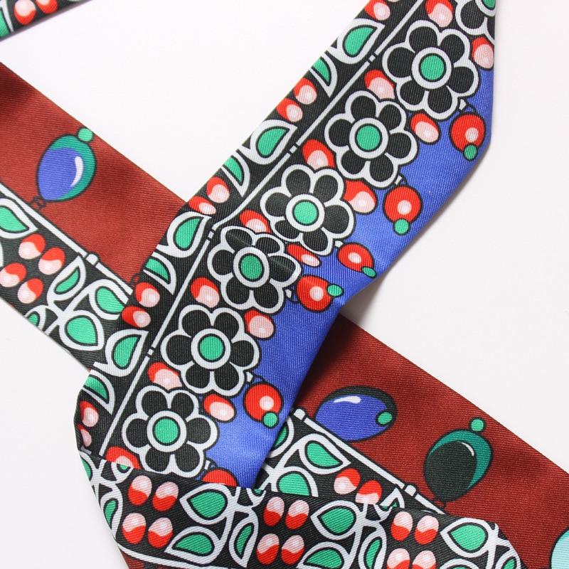 Classic Popular Pattern Print Woman Twilly Silk Scarf 100cm*5cm Long Small Head Scarf Bag Ribbons Kerchief Ladies Tie