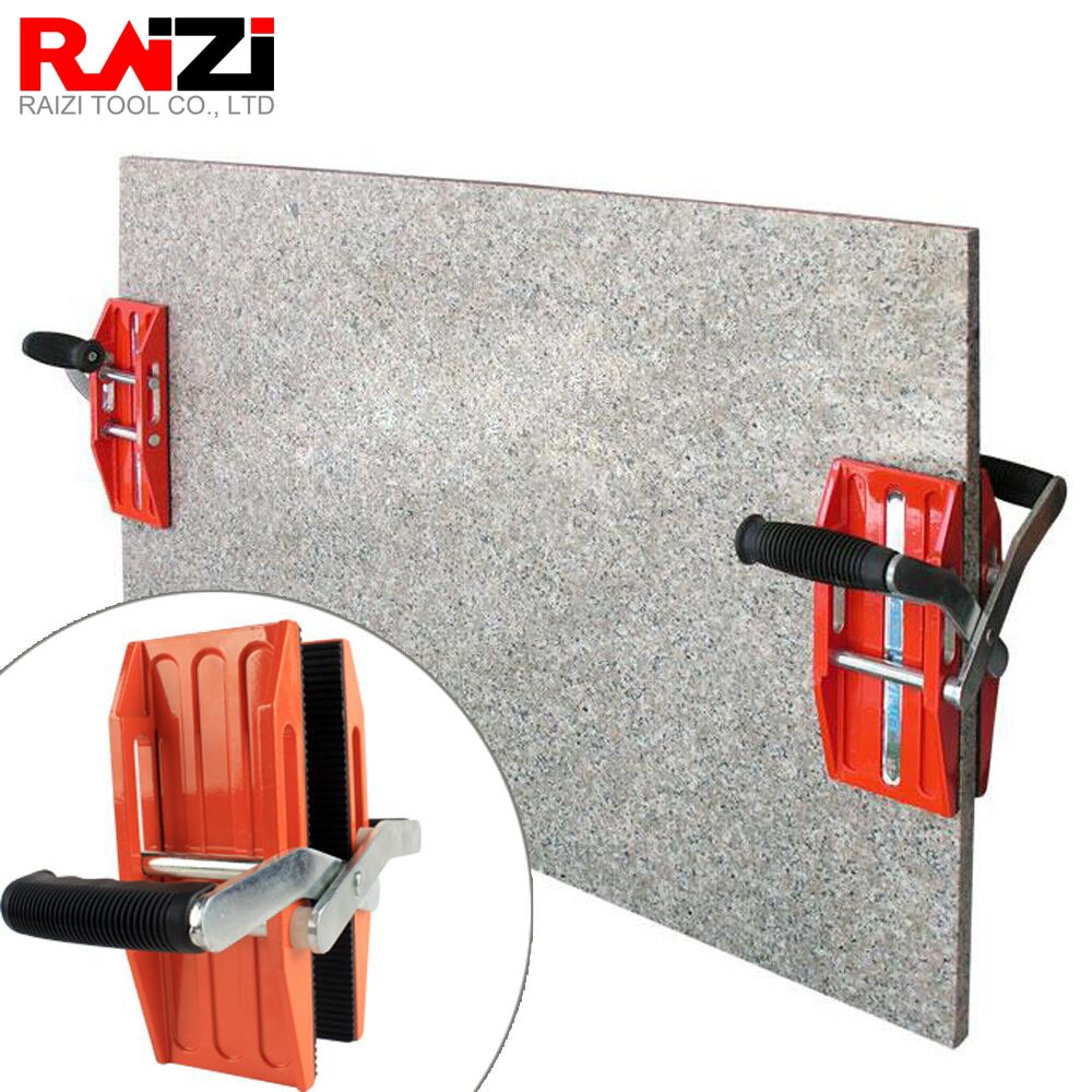 Raizi 1 Pair Double Handed Carry Clamps For Glass Granite Stone Handling Lifting Tools Large Format Tile Hands Carrying Clip