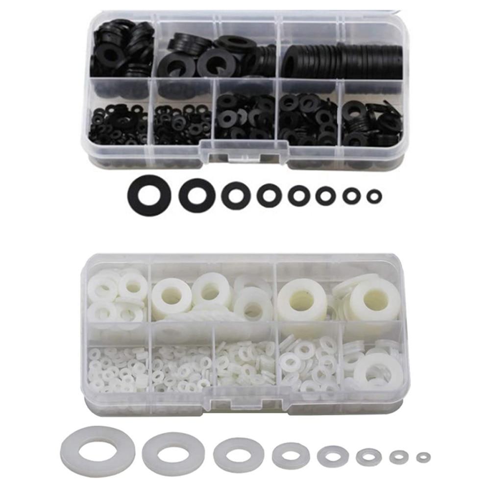 550-pcs-nylon-flat-washers-for-screws-washers-round-assorted-washers-multiple-size-classification-kit
