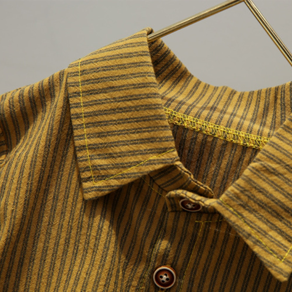 Купить с кэшбэком New 2021 Spring And Autumn Style Striped Shirt Children's Set For Boys Fashion  Long-Sleeved Two-piece Set