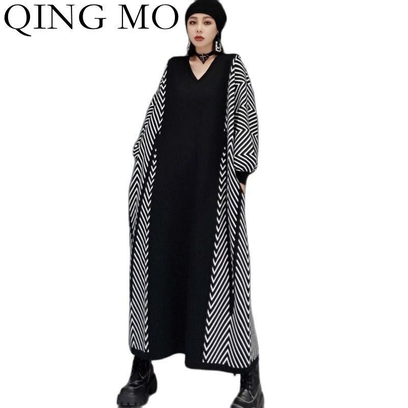 تشينغ مو الخريف موضة مخطط الخفافيش كم الخامس الرقبة فستان منسوج المرأة 2021 جديد حجم كبير التباين اللون سترة فستان ZWL963