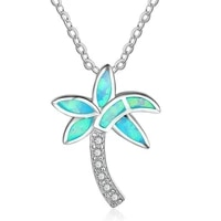 new fashion women necklace coconut tree leaf fire opal pendant wedding chain on the neck classic jewelry free shipping