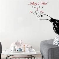 fashion custom shop name beauty nail salon wall sticker vinyl interior design window decals manicure decor murals wallpaper
