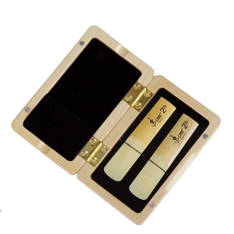 Caixa de madeira maciça do suporte do saxofone reed caso para o tenor/alto/soprano saxofone clarinete juncos 2 pces capacidade