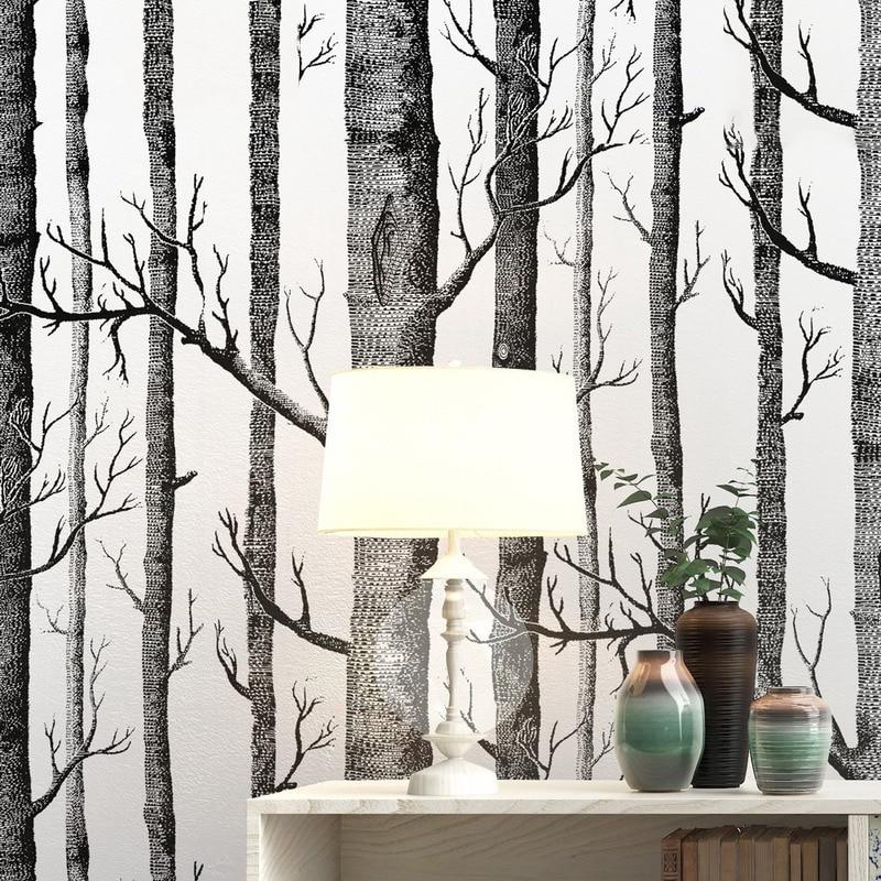 الحديثة بسيطة الأسود والأبيض الخشب خلفيات البتولا للماء الذاتي لاصق الشرفة PVC الديكور ل غرفة المعيشة غرفة نوم جدارية
