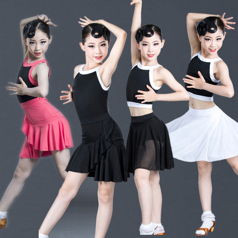 2021 Summer Girls Latin Dance Skirt Children Practice Clothing Competition Performance Dance Costumes Girls Latin Dance Dress