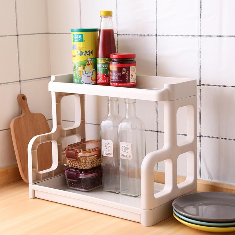 2-camada de armazenamento de banheiro de alta qualidade combinação de plástico rack de armazenamento de dupla camada organização prateleiras organizador de cozinha