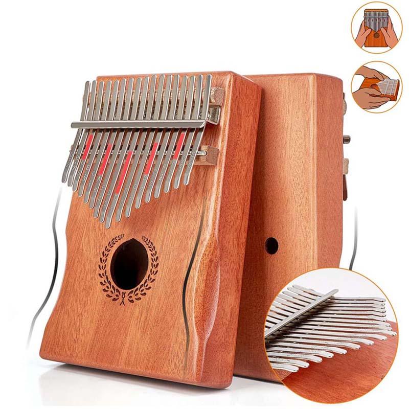 Kalimba Thumb Piano 17 Keys, Portable Mbira Finger Piano Made By Single Board High-Quality Wood Mahogany Body Musical Instrument