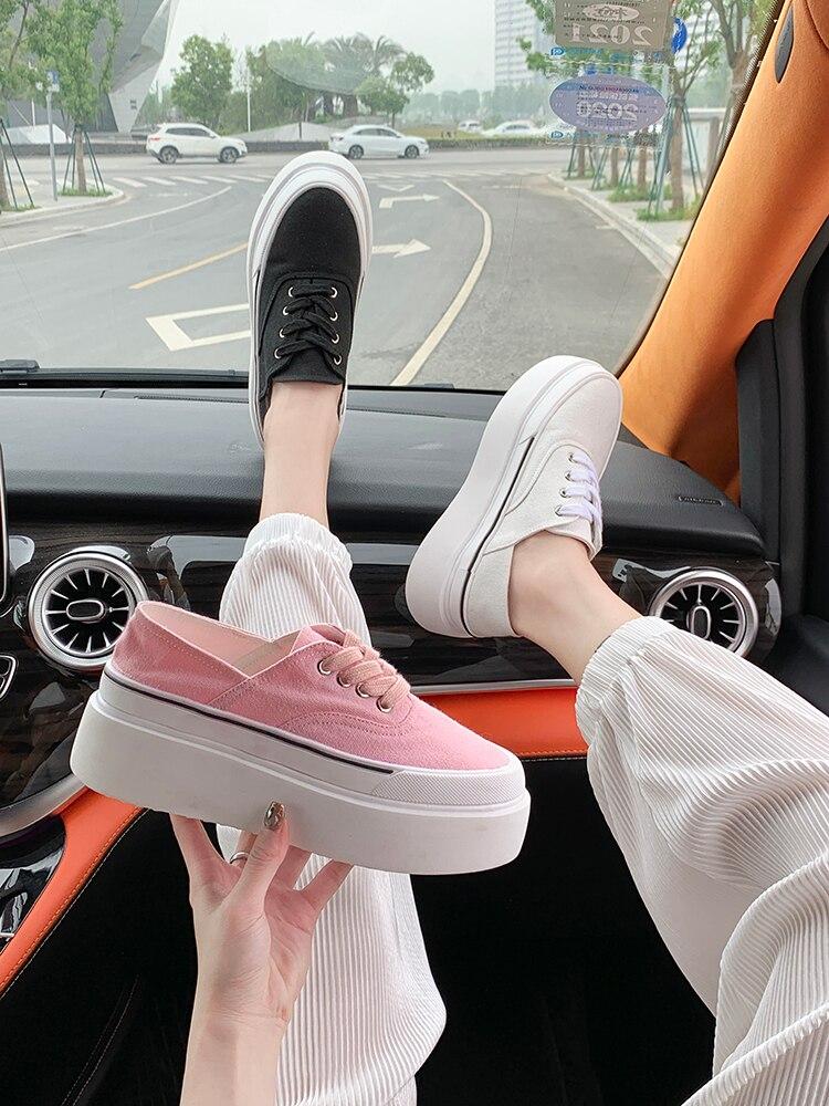 Женские туфли с круглым носком, без шнуровки, женские кроссовки на платформе, повседневные Эспадрильи с закрытым носком, 2021