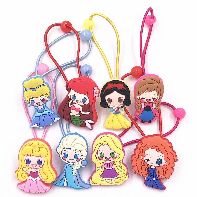 Juego de 8 piezas encantadora princesa Merida accesorios para el cabello de dibujos animados nueva llegada bandas elásticas para el pelo de PVC cuerdas de goma de Nylon para fiesta de niñas regalos
