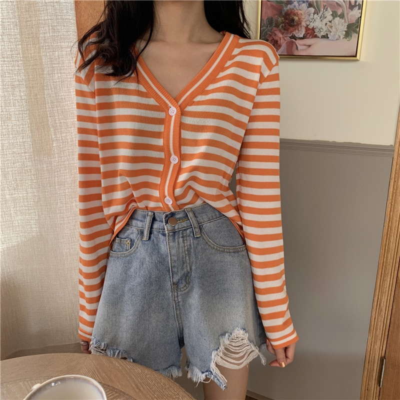 Korean Style Spring Autumn Striped Thin Knitted Cardigans Women's Long Sleeve Lazy Loose V-neck Sweater Cardigan Knitwear Jacket