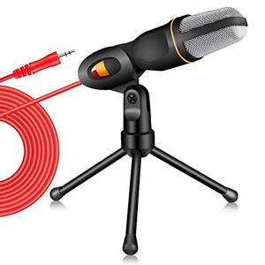 SF-666 Handheld Microphone Professional 3.5mm Jack Wired Sound Stereo Mic With Stand Tripod For Desktop PC