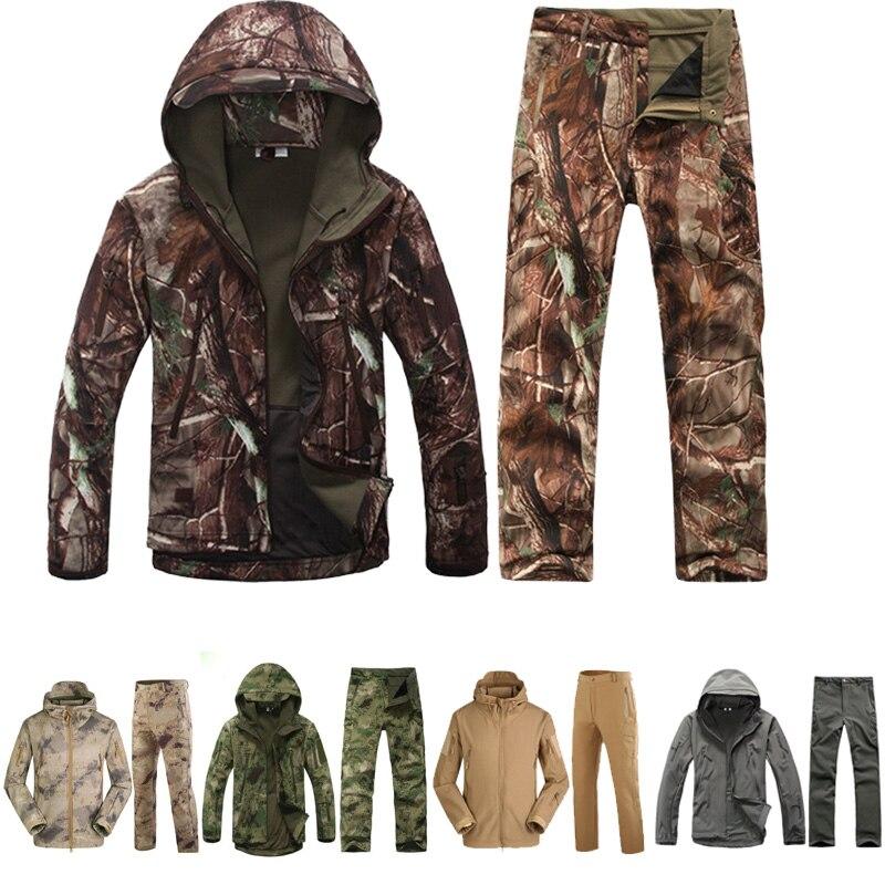 Casacos de caça militar inverno tad 4.0 pele softshell velo jaquetas masculino camuflagem com capuz jaqueta + calças uniforme ao ar livre engrenagem