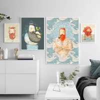nordic poster cartoons red beard male canvas painting wall art nordic posters and prints wall pictures for living room decor