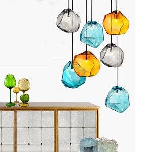Thrisdar Modern Minimalist Irregular Pendant Lights Creative Colorful Glass Hanging Lamps Bedroom Loft Restaurant Cafe LED Lamps